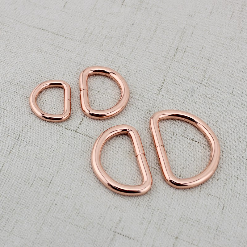 4pcs 20mm 25mm38mm  Rose Gold Bags' Polished Nickel Inside Bags Metal Accessory Alloy Cast Solid Non Welded D Ring DIY Bag Parts