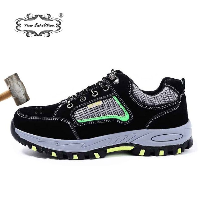 Yeni sergi Basit moda güvenlik ayakkabıları Erkekler Çelik Ayak Nefes Delinme Geçirmez Orta Taban Kayma Direnci erkek iş çizmeleri