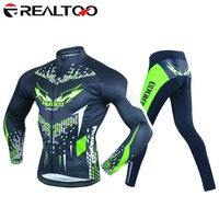REALTOO Men's Cycling Jersey Full Sleeve Riding Wear Long Sleeve T Shirts Pants
