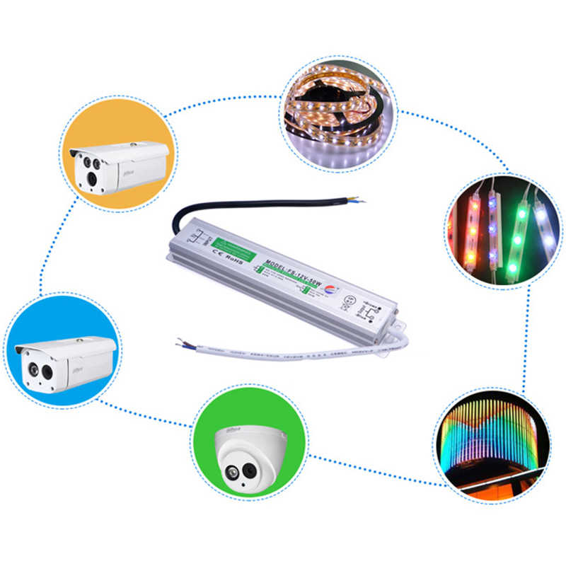 Водонепроницаемый IP67 светодиодный драйвер AC110V 220 V DC/DC 12 V/24 V мощностью 10 Вт, 20 Вт, 30 Вт, светодиодные полосы освещения мощностью 45 Вт, 50 Вт, 60 Вт, 80 Вт, 100 Вт 120 Питание для 5050 Светодиодные ленты света
