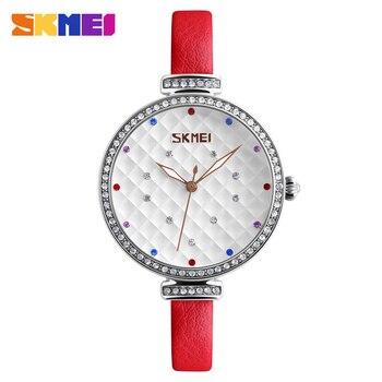 SKMEI Women Bracelet Watch Lady Quartz Leather Watches Relojes Mujer Fashion Dress Watches Casual Wristwatches Gift Clock 9142