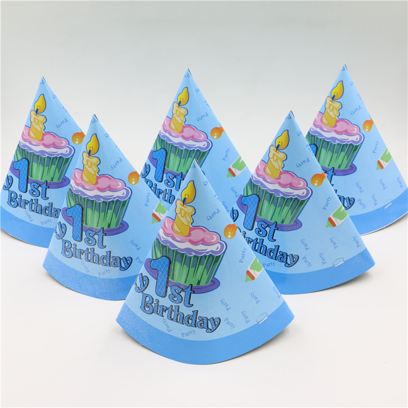 10pcs Lot Blue My 1st Birthday Pattern Theme Party Supplies Kids Boys Hat Cap Cartoon Paper Tricon In Hats From Home Garden On