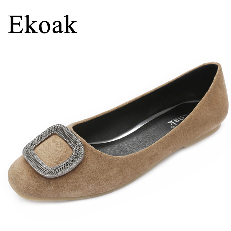 Ekoak New 2017 Spring Autumn Crystal women Flats Fashion Square Toe flats Ladies shoes Leather Pig Suede shoes woman qmn women crystal embellished natural suede brogue shoes women square toe platform oxfords shoes woman genuine leather flats page 1