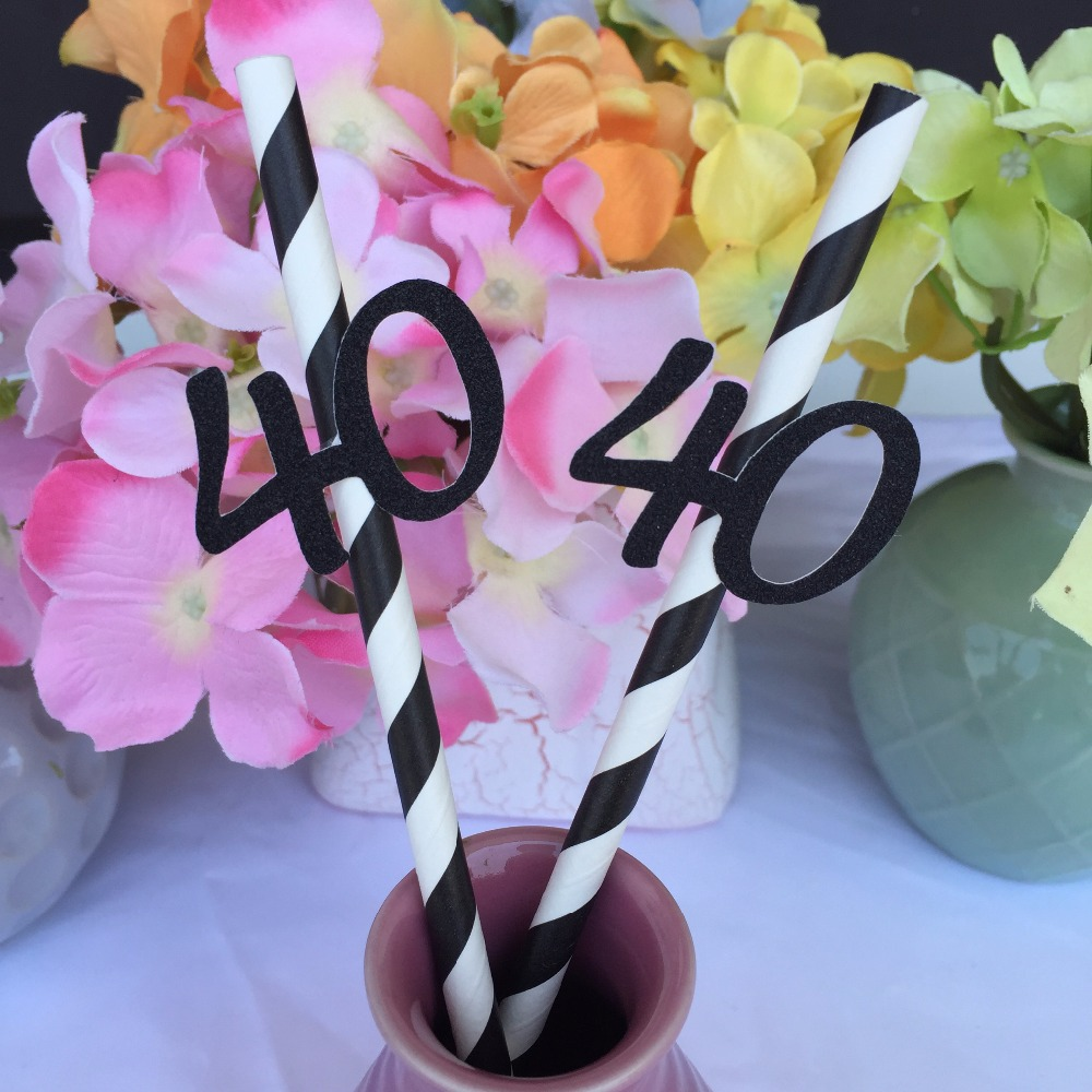 Happy 40th Birthday Party Decoration Paper Straws 25 Ct Black Striped Straw With Gold Pink Blue Silver Forty 40 In Disposable Tableware From