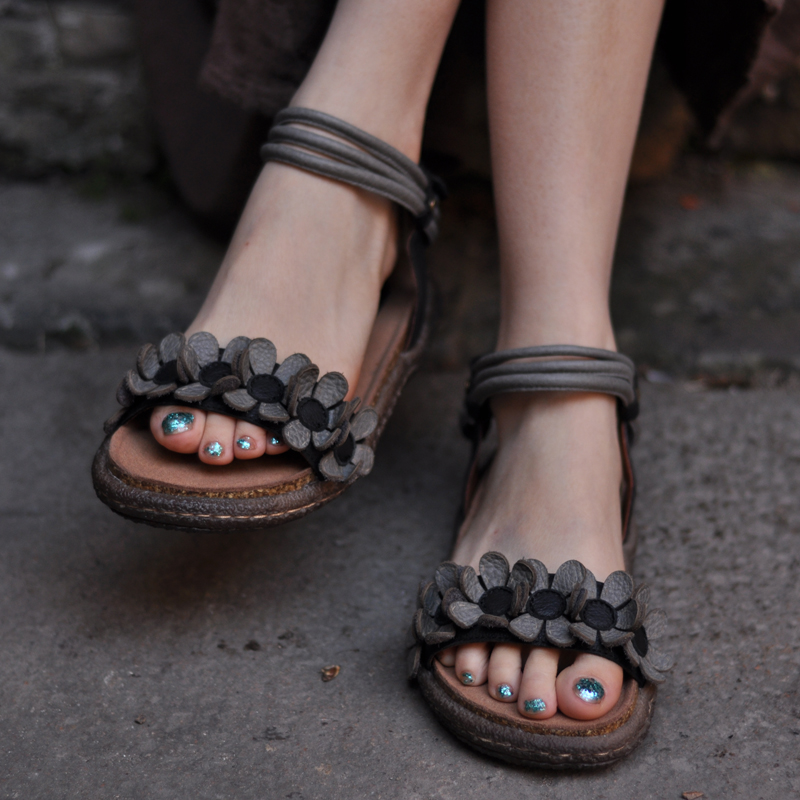 Artdiya Original Handmade Flower Cowhide Sandals Flat Comfortable Genuine Leather Women Sandals 813 16 in Women 39 s Sandals from Shoes