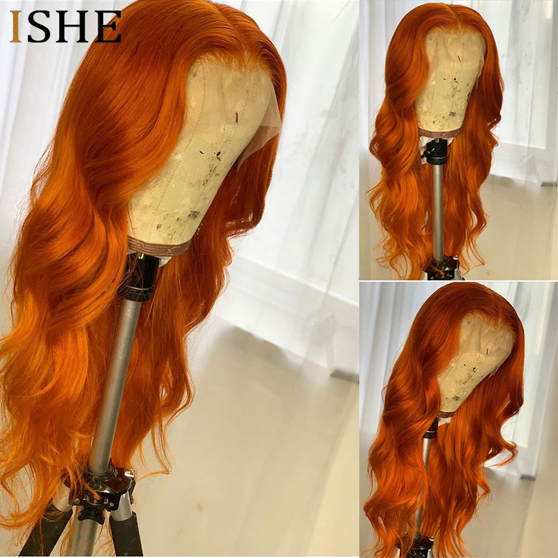 Colored 613 orange Full Lace Human Hair Wig With Baby Hair Glueless 13x6 Transparent Swiss Lace Front Wigs Body Wave Human Hair image