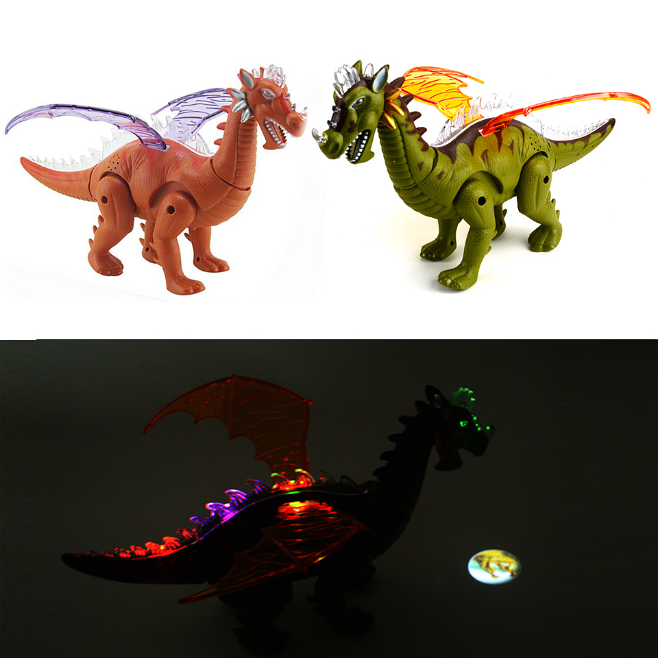 Dinosaurs Plastic Toys Model Action & Toy Figures Electronics Dinosaur with walking Sound Flashing LED Light Up Model Kids Gift 12pcs set dinosaurs plastic model children simulation animal solid soft dinosaur action figures toys gift for kids e