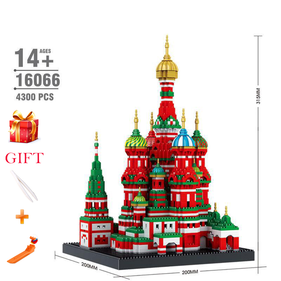 Saint Basil's Cathedral Building Blocks for Kids  Architecture Mini Diamond Micro Brick City Series 4300pcs Toys