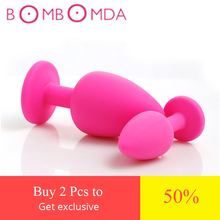 3 size silicone anal plug Random color butt plug suppository gem stimulation Anal Toys Sex Toys Products For Adults sex shop