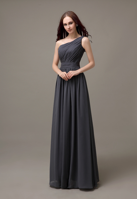 Dark Gray One Shoulder Long Chiffon Cheap Simple Bridesmaid Dress Wedding  Guest Dress For Bridesmaid Plus