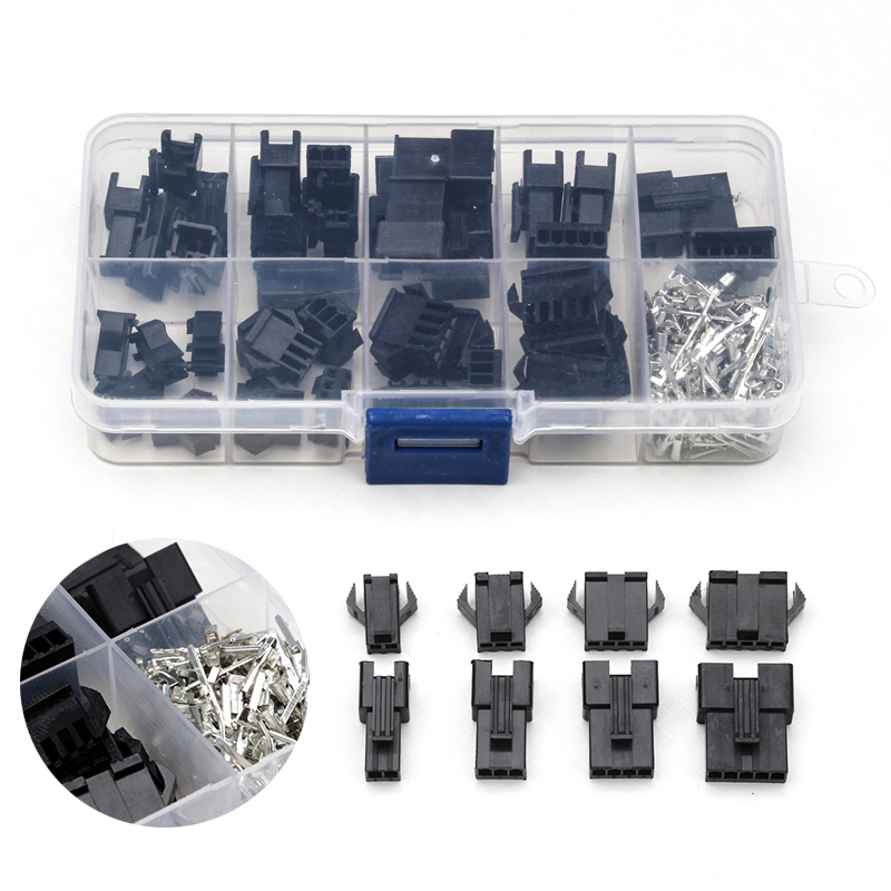 200PCS 2.54mm Dupont Terminals Male Female 2/3/4/5 Pin Electrical Pin Jumper Header Housing Wire Connector Kit With Box