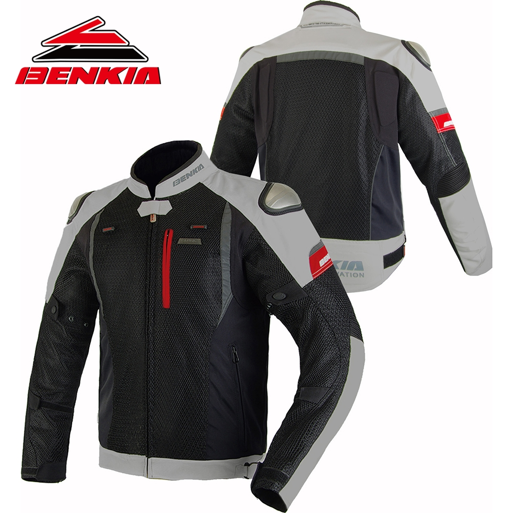 BENKIA Summer Mesh Motorcycle Jcaket Men Breathable Jacket Racing Clothes Spring and Autumn Riding Anti Wrestling