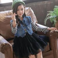 2018 Toddler Girls Clothes 10 12 Year Girls Clothing Sets Autumn Winter Kids Denim Vest Jeans + Striped Tutu Dress Kids Costume