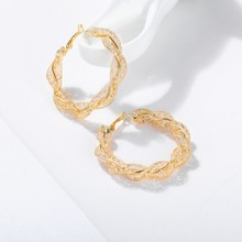 1Pair HOT Oversize Geometric Circle Round Hoop Earrings for Women Brincos Cubic Zirconia Twist Earring Gold Color Party Jewelry(China)