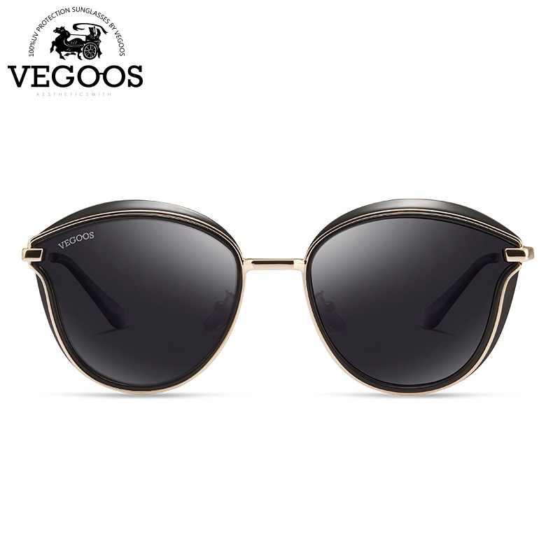 2ff735a36e VEGOOS polarizadas las mujeres gafas de sol redondas de PC marco colorido  espejo lente moda Retro