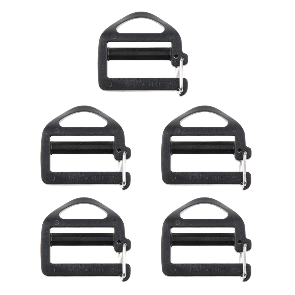 5Pcs Side Webbing Adjustable Buckle w Quick Release Hook Outdoor Slimwaist Molle Tactical Backpack Straps Parts Hardware 25mm in Climbing Accessories from Sports Entertainment