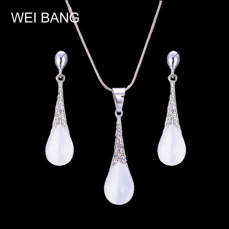Brand Designer Silver Color Women Jewelry Sets Imitation Pearls Earrings & Necklace Factory Wholesale