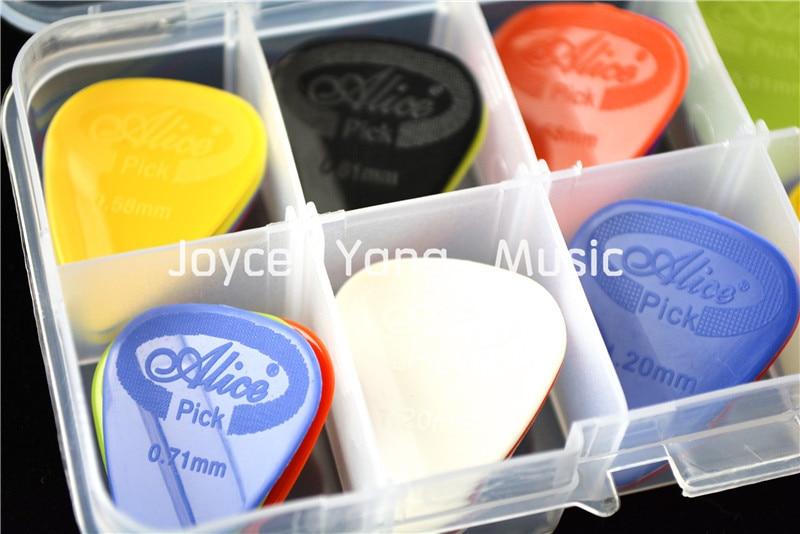 50pcs Alice Projecting Nylon Acoustic Electric Guitar Picks Plectrums+1 Plastic Picks Box Case Free Shipping