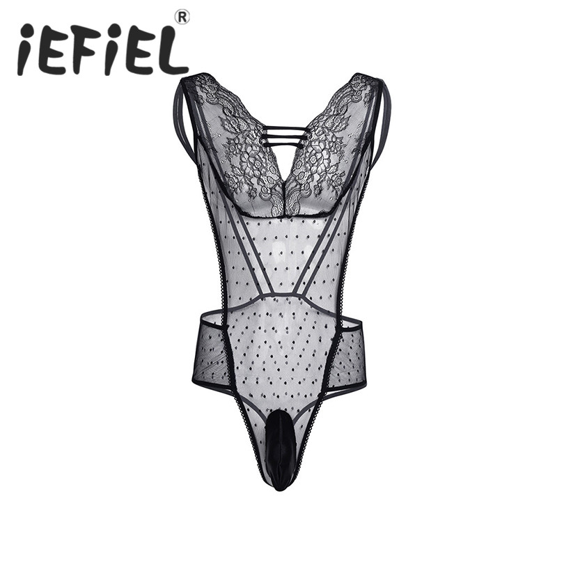 iEFiEL Newest Sexy Men Lingerie One-piece Sissy Mesh See Through Bodysuit Jumpsuit Nightwear Sleepwear Gay Male Black Underwear