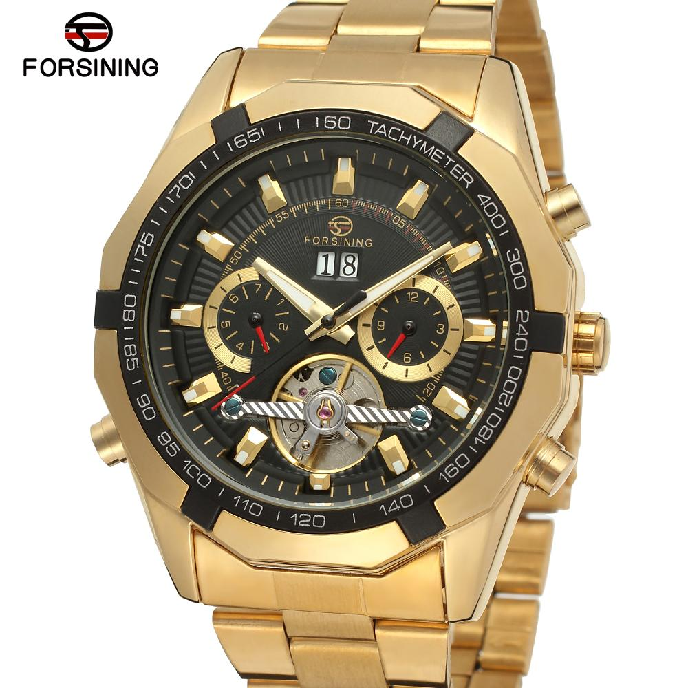 FORSINING Men s Watches Luxury Automatic Bracelet Best Analog Brand Dress Wristwatch Color Gold FSG340M4G1
