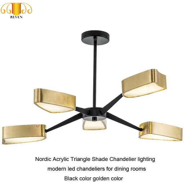 NEVEN Nordic Acrylic Triangle Shade Chandelier lighting modern led chandeliers for dining rooms Black color golden color