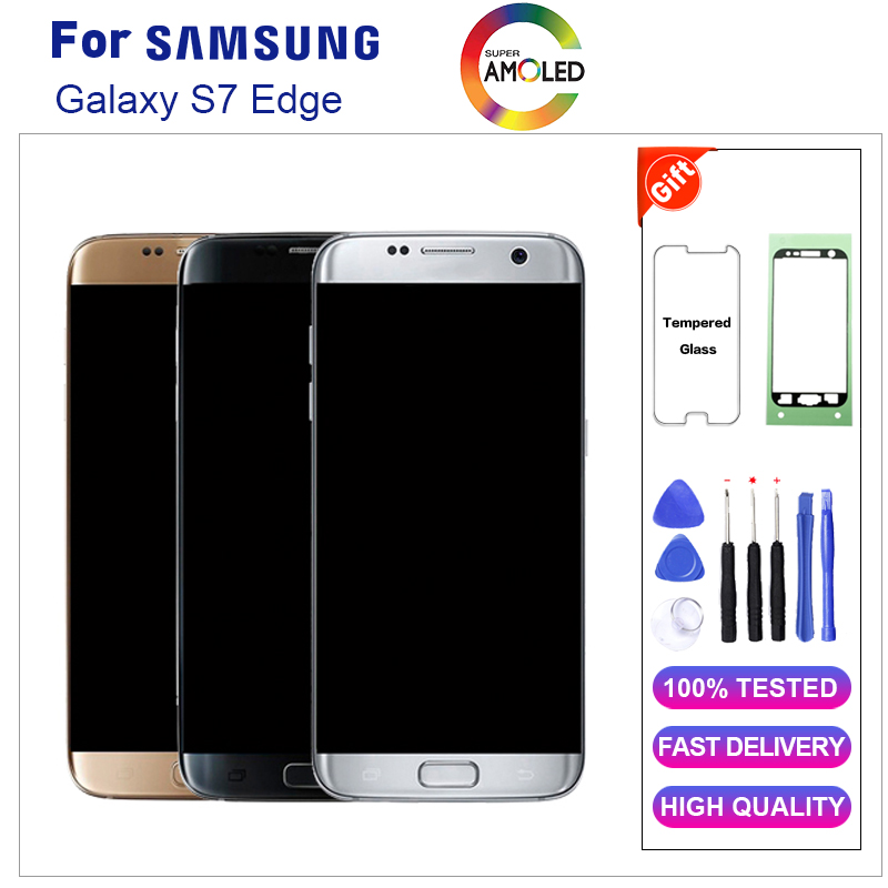 Super AMOLED <font><b>LCD</b></font> For <font><b>Samsung</b></font> <font><b>Galaxy</b></font> <font><b>S7</b></font> edge G935 G935F <font><b>LCD</b></font> <font><b>With</b></font> <font><b>Frame</b></font> <font><b>LCD</b></font> Display Screen Digitizer Assembly 5.5'' Replacement image