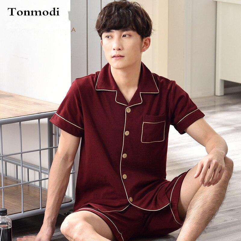 Mens Sleepwear Summer Short-sleeve Cotton Shorts Thin 100% Cotton Loose Lounge Pajamas Set Mens Pyjamas Underwear & Sleepwears