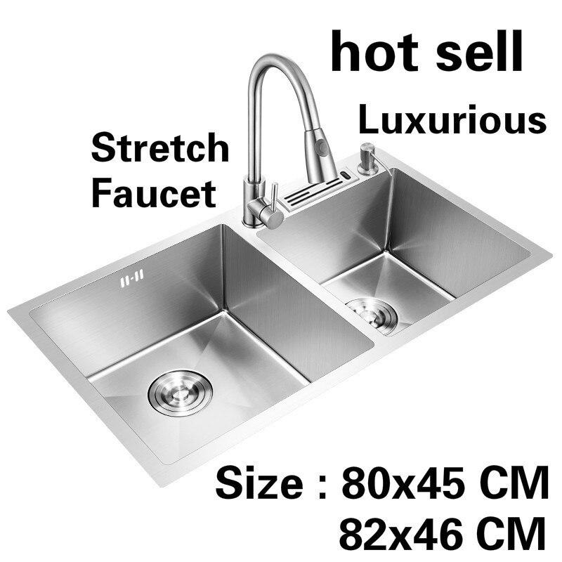 Livraison gratuite vente chaude appartement cuisine manuel évier double rainure stretch robinet de qualité alimentaire 304 en acier inoxydable 80x45/82x46 CM
