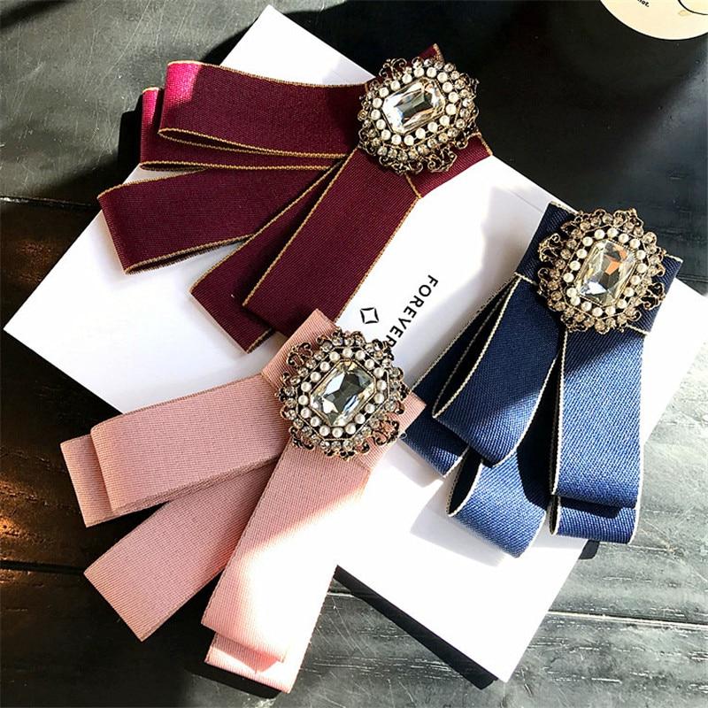 Korea Handmade New Vintage Imitation Pearl Rhinestone Shirt Pins Neck Bow  Tie Apparel Accessories Fashion Jewelry 62ad3d4082da