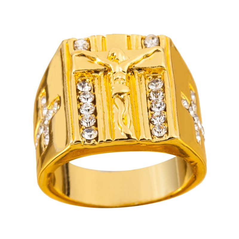 Crystal  Gold Holy Cross Signet Ring Prayer Gold Rings New Fashion Gold Men's Ring Fit Wedding Party Finger Ring 5 Size