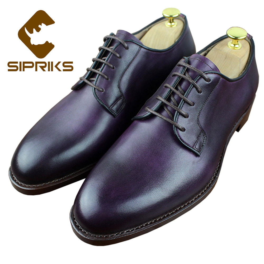 Sipriks Real Leather Fuchsia Dress Shoes For Men Italian Custom Goodyear Welted Shoes Grooms Wedding Shoes Elegant Social Shoes luxury bespoke goodyear welted shoes elegant mens dress shoes italian unique boss wingtips shoes italian grooms wedding shoes
