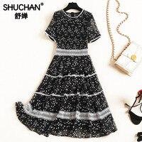 Shuchan 2019 женские дизайнерские платья Сетчатое платье с принтом звезд черное стильное платье для женщин до колена корейская мода новое поступ
