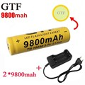 New 2 batteries 9800mah+1 charger rechargeable li-ion battery 3.7v 18650 9800mah battery and charger for led flashlight 18650