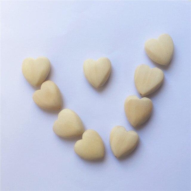 Chenkai 50 pcs bois naturel coeur perles de dentition non fini bébé douche anneau de dentition en bois bijoux jouet perles