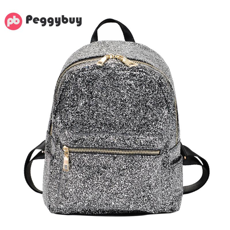 Korean Fashion Wild Women Glitter Sequins Backpacks 2019 New Casual Simple School Style Wild Shining Travel Shoulder Packsack