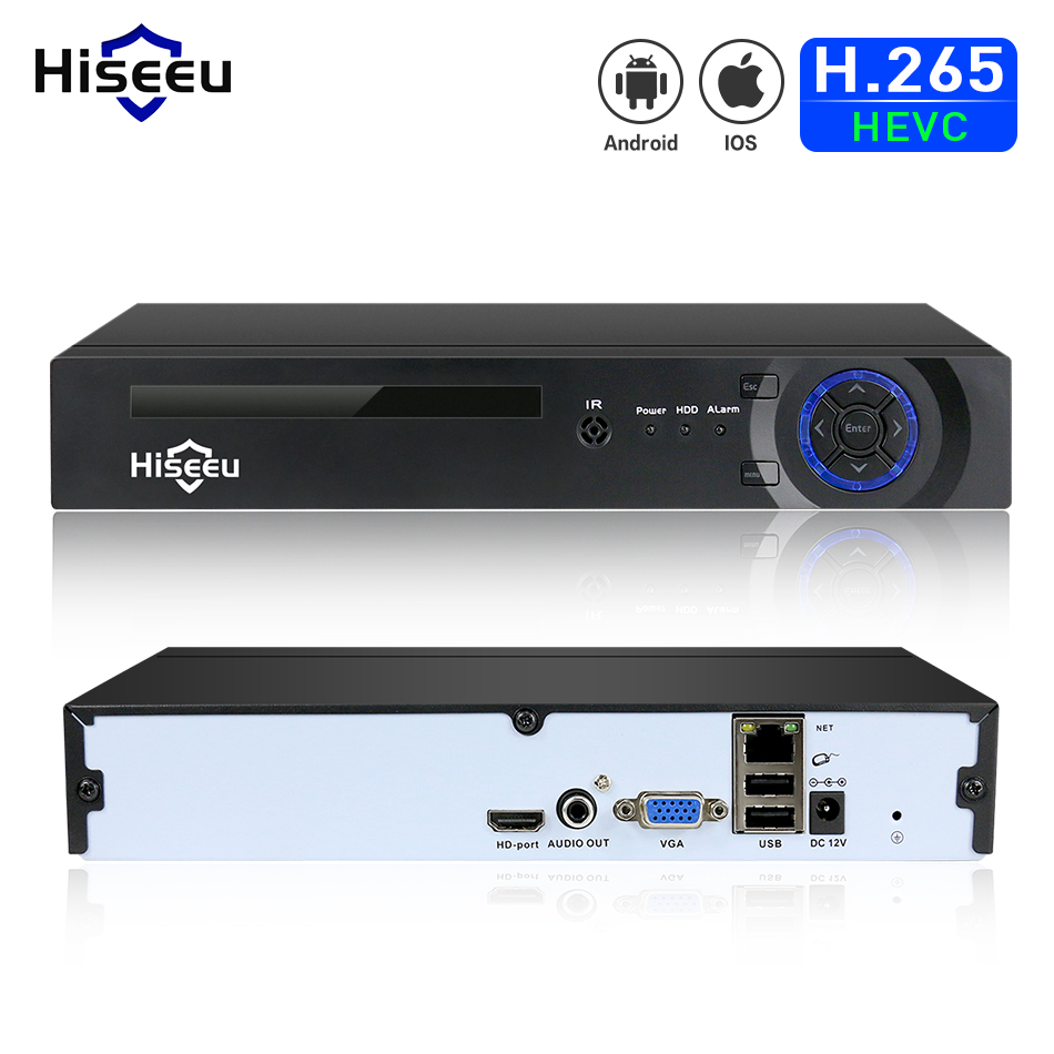 Hiseeu H.265 HEVC 4CH 8CH видеонаблюдения NVR для 5MP/4MP/3MP/2MP Onvif 2.0 IP Камера из металла видеорегистратор сети P2P для системы видеонаблюдения