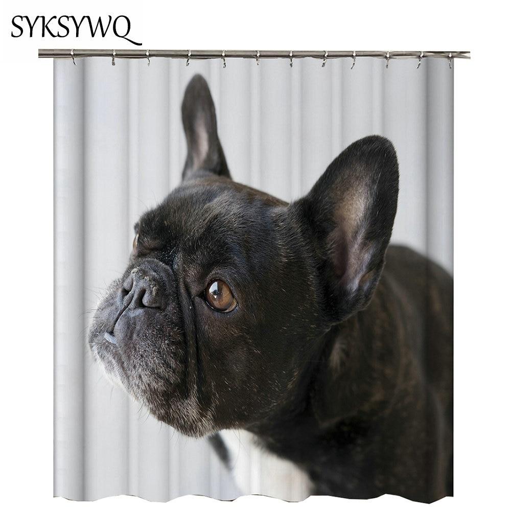 Bathroom Decor Shower Curtain Dog 2018 Cortina De Ducha New Arrival Black English Bulldog Bath In Curtains From Home Garden On