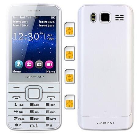 Quad 4 SIM Four Standby slim Mobile Phone Flashlight Magic Voice SOS Speed Dial Phone book 1000 MAFAM M11 V9500 cell phones