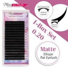 Bayan La Modu Mat elips kirpik uzatma fit lashes mat kalınlığı 0.20 C/D 10 adet/grup Düz lashes elips kök kirpik