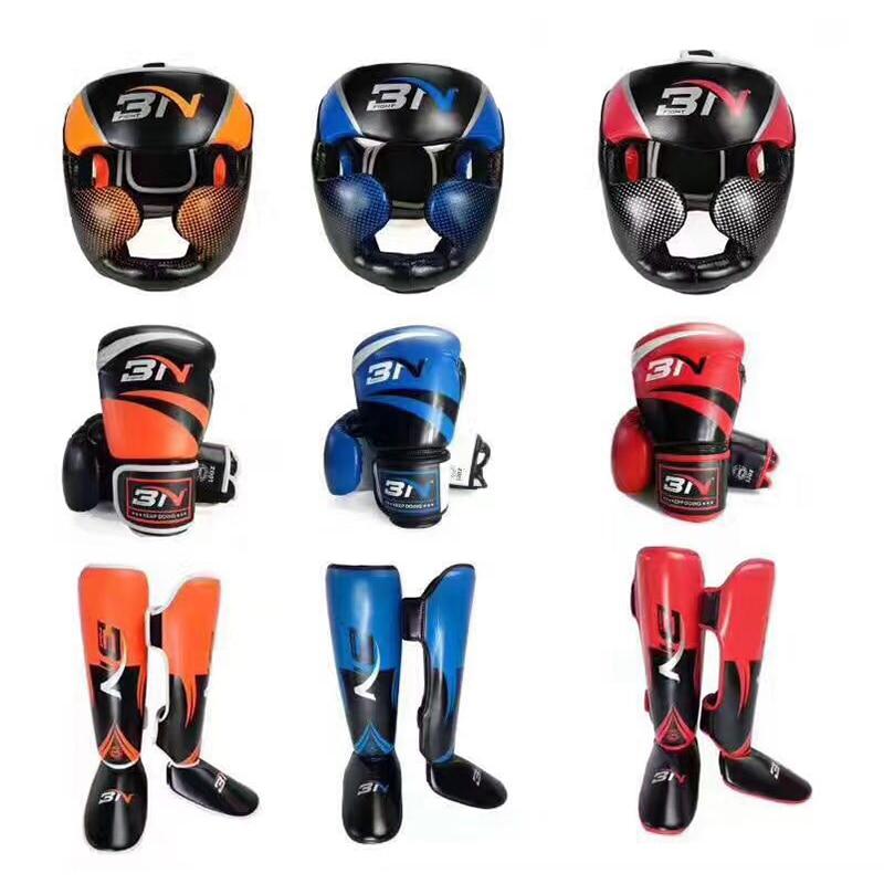 BN Boxing suit Gloves headgear shin guard men PU leather head guard protector muay thai MMA taekwondo Sanda Karate man цена 2017