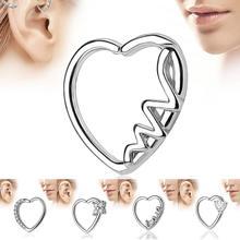 Fashion Heart Shape Zircon Piercing Open Hoop Nose Ring Earrings Women Jewelry Gift