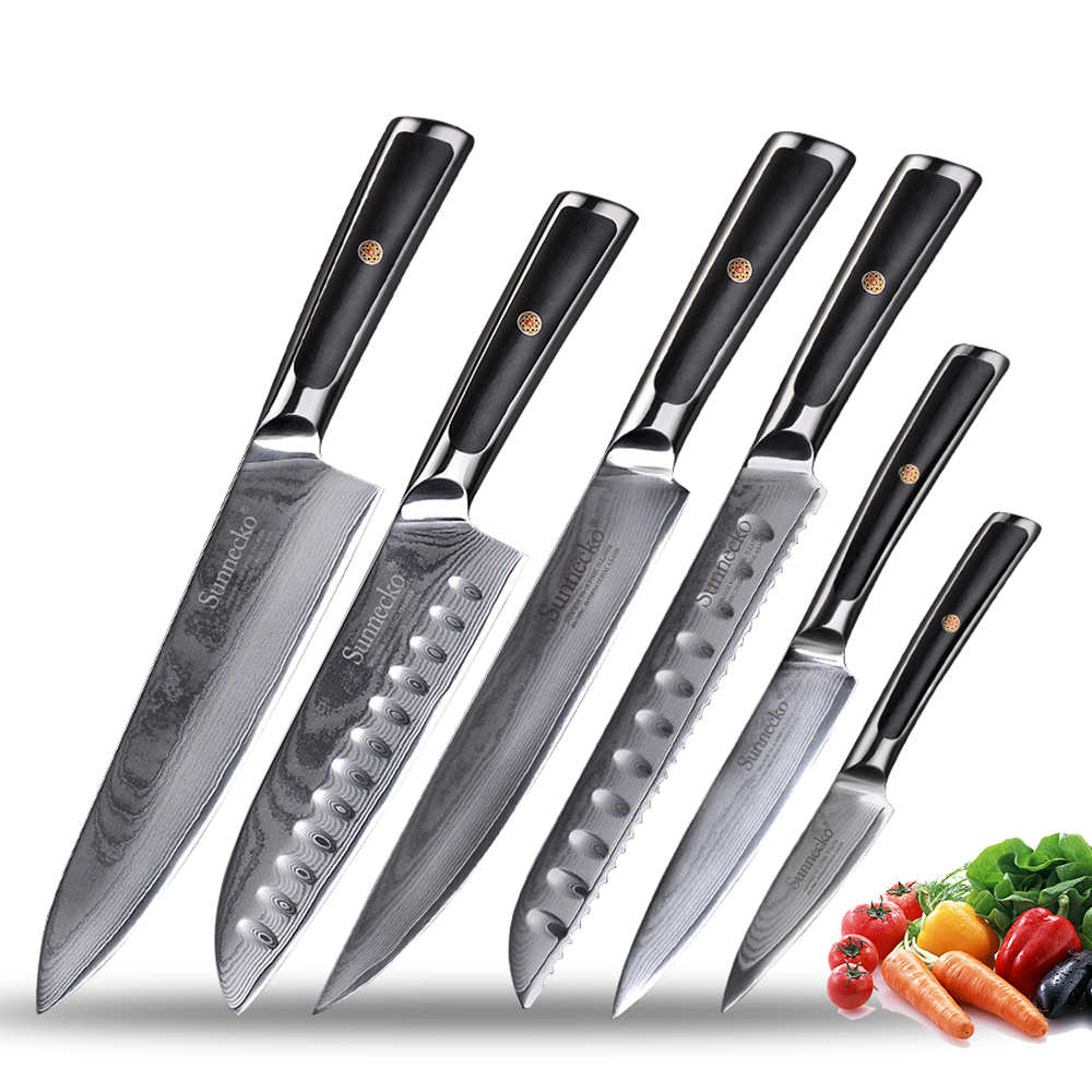 Sunnecko Japanese VG10 Steel Gift Box Kitchen Knives Set Chef's Razor Sharp Slicing Utility Paring Bread Santoku Damascus Knife