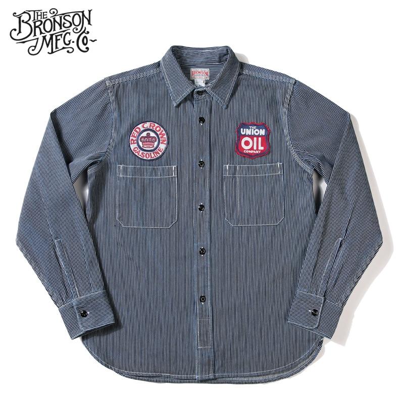 Bronson 11,5 oz Winchman camisa Vintage otoño camisa de manga larga a rayas para hombre-in Camisas casuales from Ropa de hombre    1
