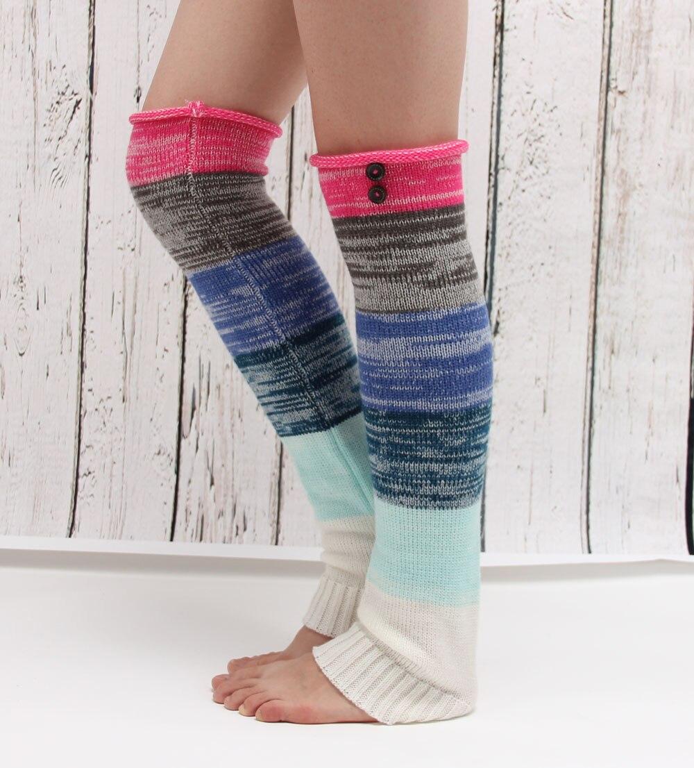 new design colorful rainbow leg warmer womens acrylic button boot socks knitted high winter leg knee socks