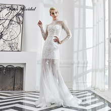 Rosabridal Mermaid Wedding Dress 2019 New Styles High Neck juliet long sleeves Beading lace appliques nude Trumpet Bridal Gown