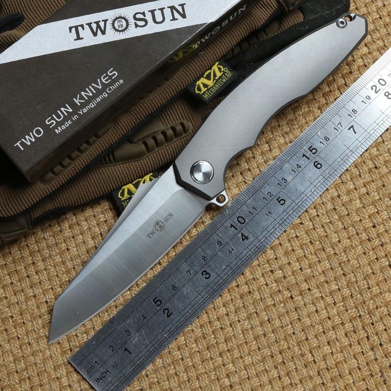 TWO SUN TS48 D2 blade Flipper ball brearing folding knife titanium camping hunting Pocket knives outdoor gear Survival EDC Tool
