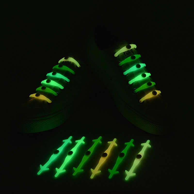 12 pz/lotto Silicone Elastico Senza Cravatta Scarpe Pizzo scarpe Da Ginnastica di Sport Della Cinghia Luminosa Lacet Del Partito di Evento di Compleanno Di Club Forniture FAI DA TE Decor