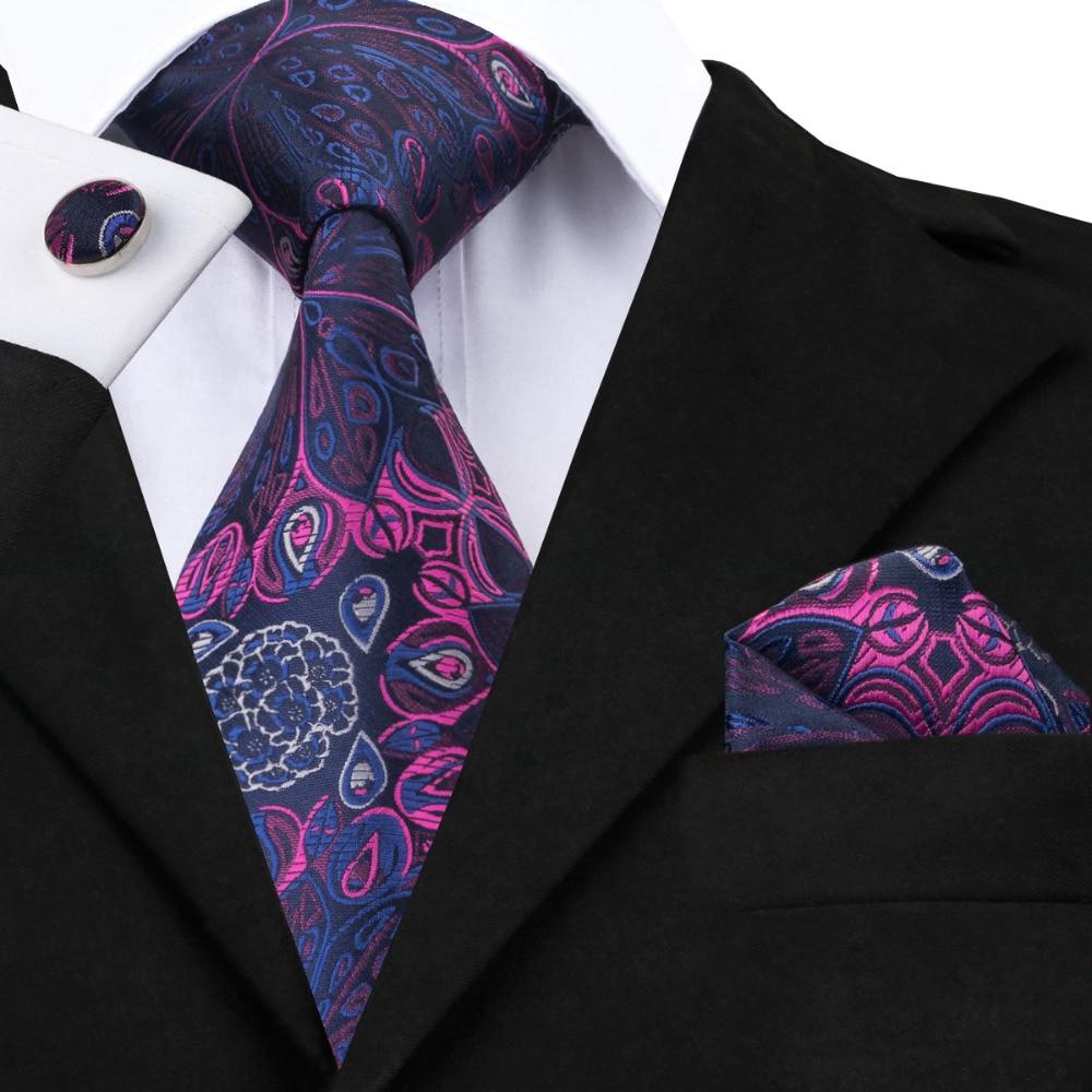 2017 Fashion Blue Purple Floral Tie Hanky Cufflinks Silk Necktie Ties For Men Formal Business Wedding Party C-483