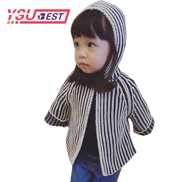 Sọc Cô Gái Cardigan Áo Len Mùa Xuân Cô Gái Chàng Trai Dệt Kim Cardigan Outwear 2019 Thời Trang Phong Cách Trẻ Em của Áo Giản Dị Trẻ Em Áo Khoác