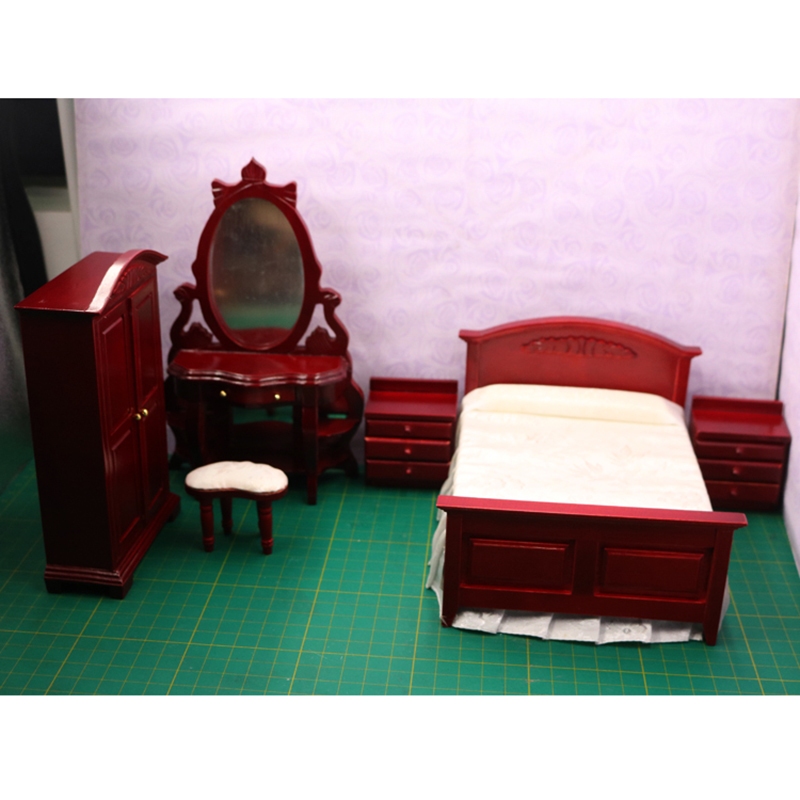 1:12 Dollhouse furniture toy for dolls Miniature wooden bed chair simulation bedroom sets pretend play toys for kids girls gifts butterworth hezekiah the story of magellan and the discovery of the philippines